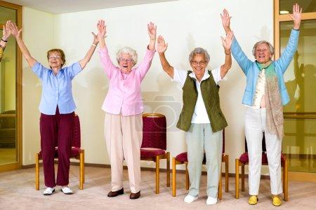 senior women doing physical workout