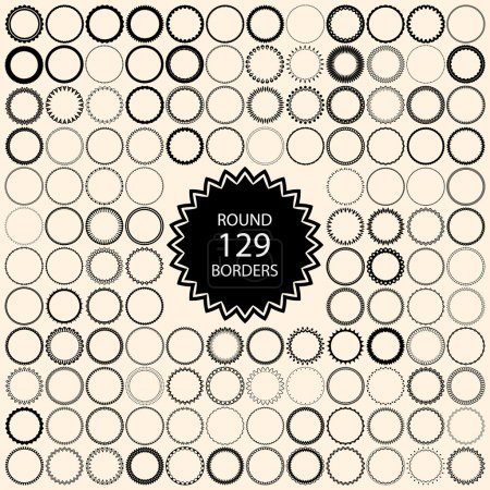 129 vintage round borders. Set with circle frames.