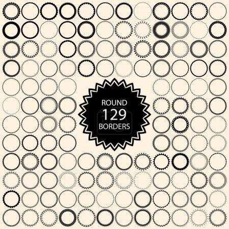 Illustration pour Élément de conception de bordure ronde vectorielle, bordures décoratives pour étiquettes vintage , - image libre de droit