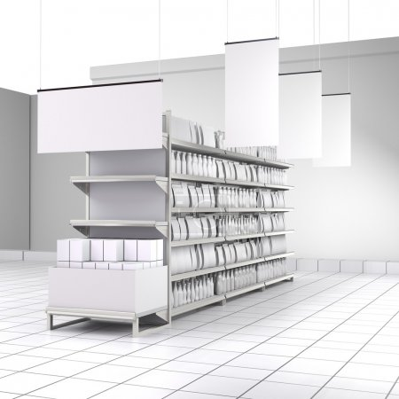 Shelves with blank products