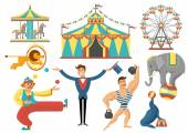 Circus Decorative Flat Icons Set