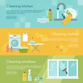 Three horizontal banners set with different types of work in house cleaning kitchen clothes and windows vector illustration