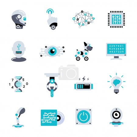 Illustration pour Icône plate d'intelligence artificielle avec équipement d'outils et calculs pour créer le robot et les créatures semblables à elle illustration vectorielle - image libre de droit