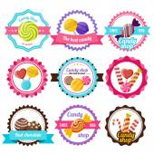 Sweet candy flat emblem or round logos in different colors with different sweets inside with ribbons vector illustration