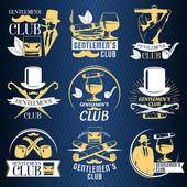 Colored gentlemen club label set