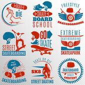 Skateboarding Emblem Set In Color