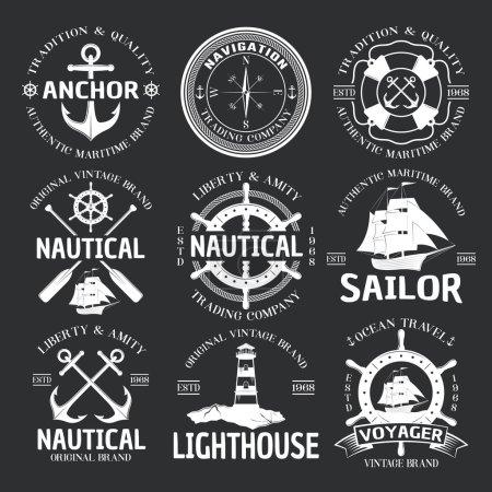 Illustration pour Emblème nautique blanc sur noir liberté et amitié agence de voyage nautique par exemple illustration vectorielle - image libre de droit