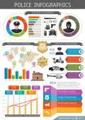 Plochá policejní Infografic
