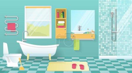 Illustration pour Intérieur de salle de bain moderne avec équipement sanitaire jaune meubles fenêtre murs bleus et carrelage illustration vectorielle de sol - image libre de droit