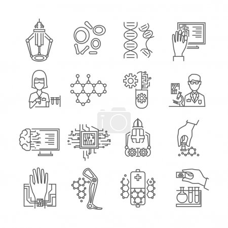 Nanotechnology Linear Icons Set