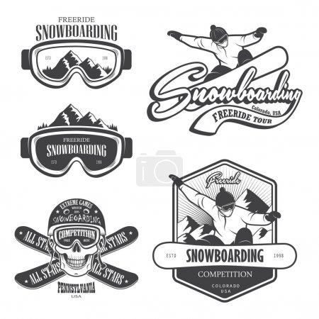 Set of snowboarding emblems, labels and designed elements. Set 2