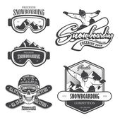 Set of snowboarding emblems labels and designed elements Extreme theme winter games outdoors adventure Set 2