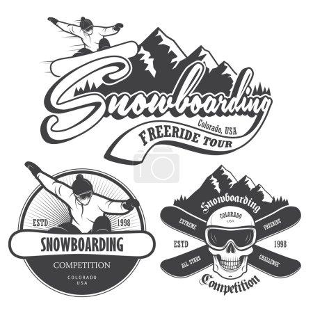 Set of snowboarding emblems, labels and designed elements.