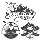 Set of snowboarding emblems labels and designed elements Extreme theme winteg games outdoors adventure