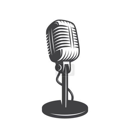 Ilustración de Ilustración de vector de aislados micrófono retro, vintage - Imagen libre de derechos