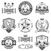 Set of vintage boxing emblems
