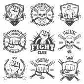Set of cool fighting club emblems labels badges logos Monochrome graphic style