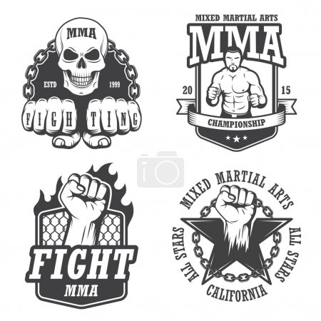Set of four mma emblems