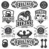 Set of monochrome fitnes emblems