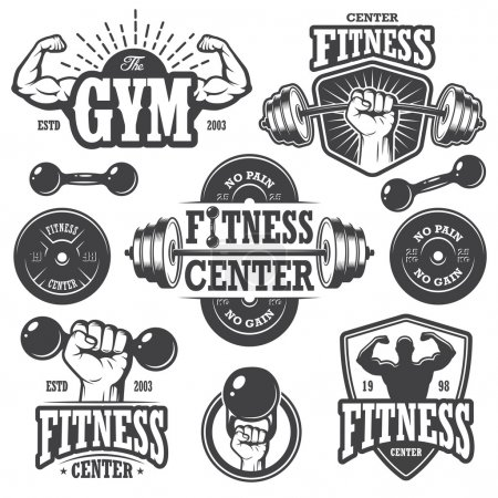 Illustration for Second set of monochrome fitnes emblems, labels, badges, logos and designed elements. - Royalty Free Image