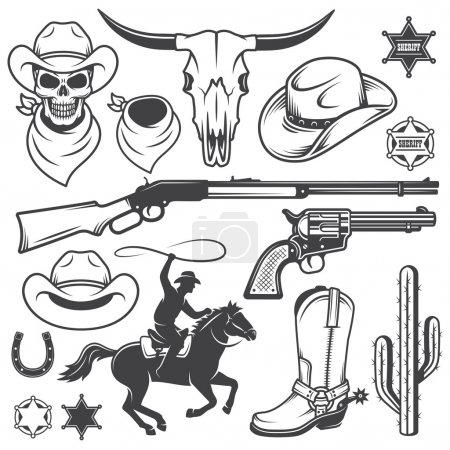 Illustration for Set of wild west cowboy designed elements. Monochrome style - Royalty Free Image