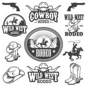 Set of vintage rodeo emblems and designed elements