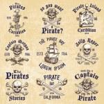Set of vintage hand drawn pirates designed emblems...