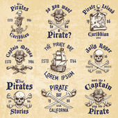 Set of vintage hand drawn pirates designed emblems labels logos and designed elements Isolated with a skretched background Doodle style Proverbs Layered