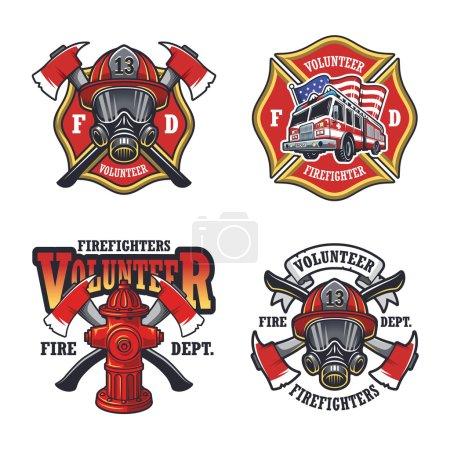 Illustration pour Ensemble d'emblèmes, d'étiquettes, d'insignes et de logos de pompiers sur fond clair - image libre de droit