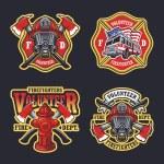 Set of firefighter emblems, labels, badges and log...