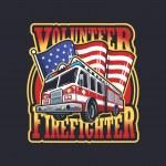 Vintage firefighter emblem with firefighter truck ...