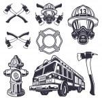Set of designed firefighter elements. Monochrome s...