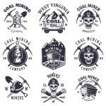 Set of vintage coal mining emblems, labels, badges...