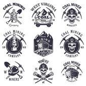 Set of vintage coal mining emblems