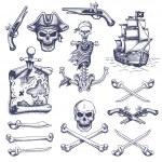 Set of vintage hand drawn pirates designed element...