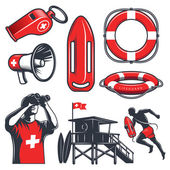 Set of vintage lifeguard coloured elements isolated on white background