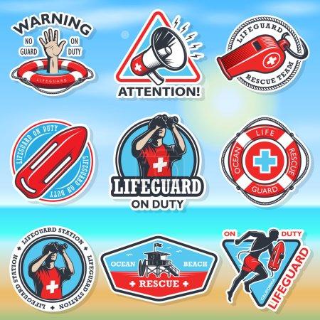 Illustration for Set of vintage lifeguard coloured emblems on a coloured blured backgroung - Royalty Free Image