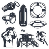 Set of vintage lifeguard elements Monochrome style isolated on white background