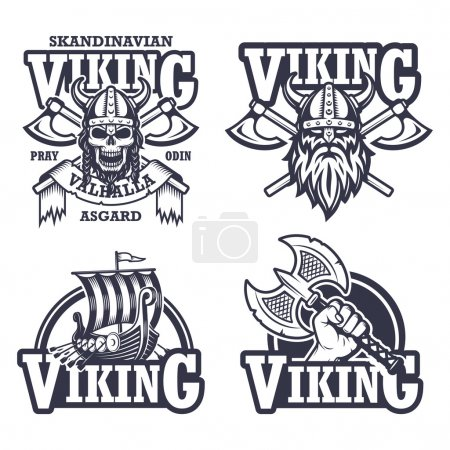 Set of viking emblems, labels and logos. Monochrome style