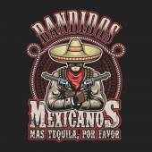 Vector illustrtion of mexican bandit print template Man with a guns in hands in sombrero with text