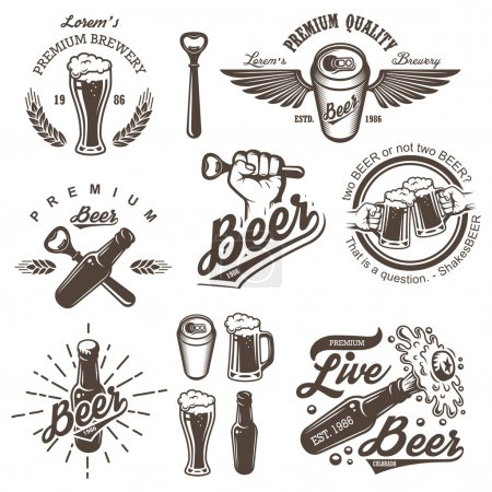 Illustration for Set of vintage beer brewery emblems, labels, logos, badges and designed elements. Monochrome style. Isolated on white background - Royalty Free Image
