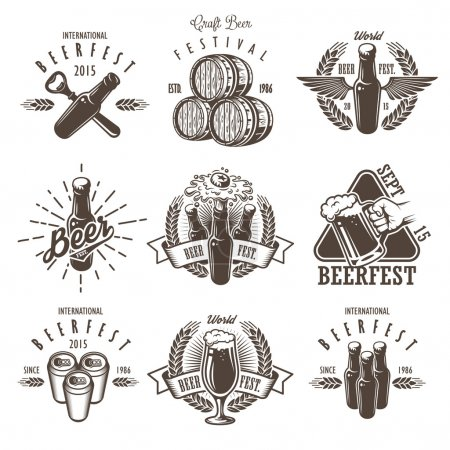 Illustration for Set of vintage beer festival emblems, labels, logos, badges and designed elements. Monochrome style. Isolated on white background - Royalty Free Image