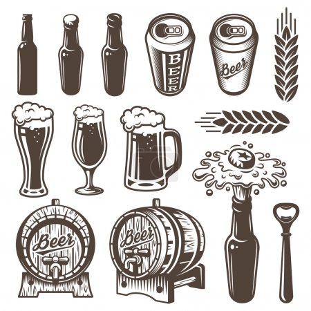 Illustration for Set of vinyage beer and brewery elements. Monochrome style. Isolated on white background - Royalty Free Image