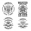 Постер, плакат: Set of sheriff and bandit emblems