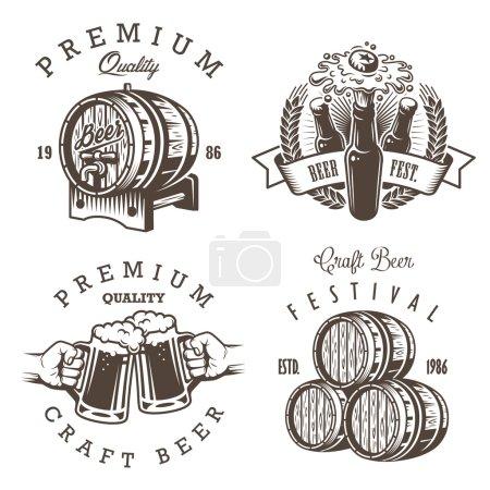 Illustration pour Ensemble d'emblèmes de brasserie de bière vintage, étiquettes, logos, badges et éléments conçus. Style monochrome. Isolé sur fond blanc - image libre de droit