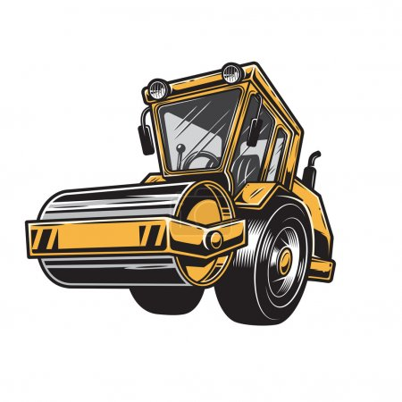 Vector illustration of steamroller