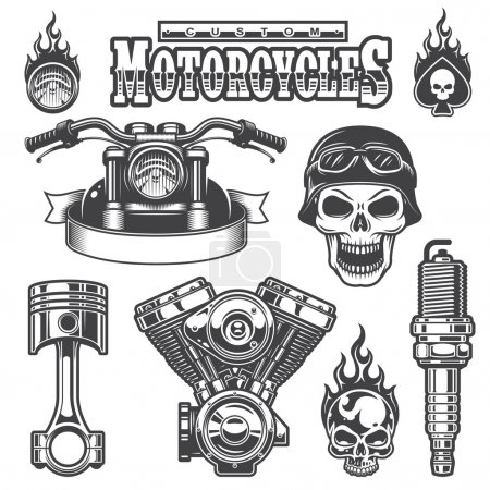 Set of vintage monochrome motorcycle elements