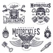 Set of vintage motorcycle emblems labels badges logos and design elements Monochrome style