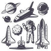 Set of vintage space elements