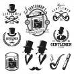 Set of vintage gentlemen emblems, labels, badges a...